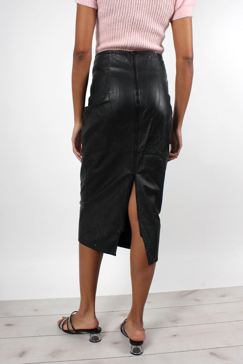 Lace-up Leather Zip Skirt S