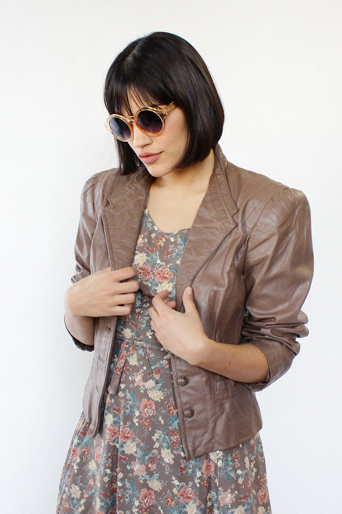 Sepia Leather Puff Jacket S/M