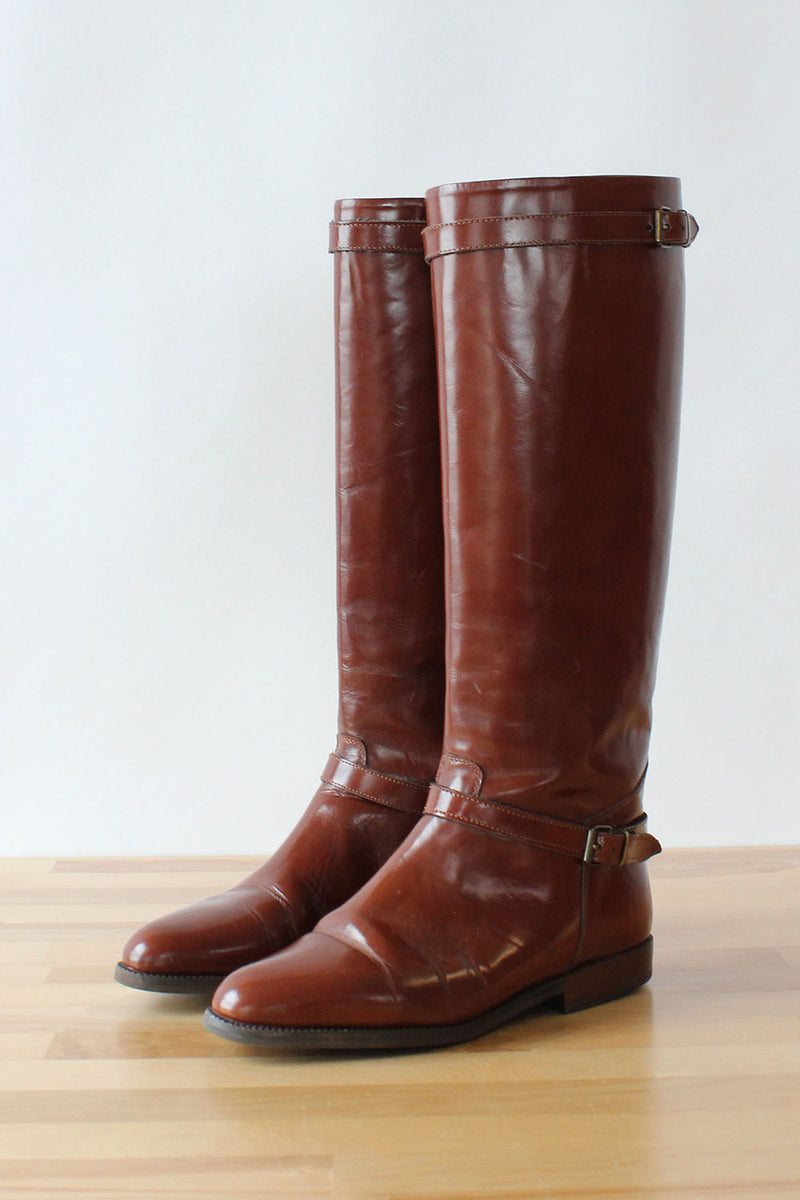 Chestnut Leather Tall Boots 6.5-7