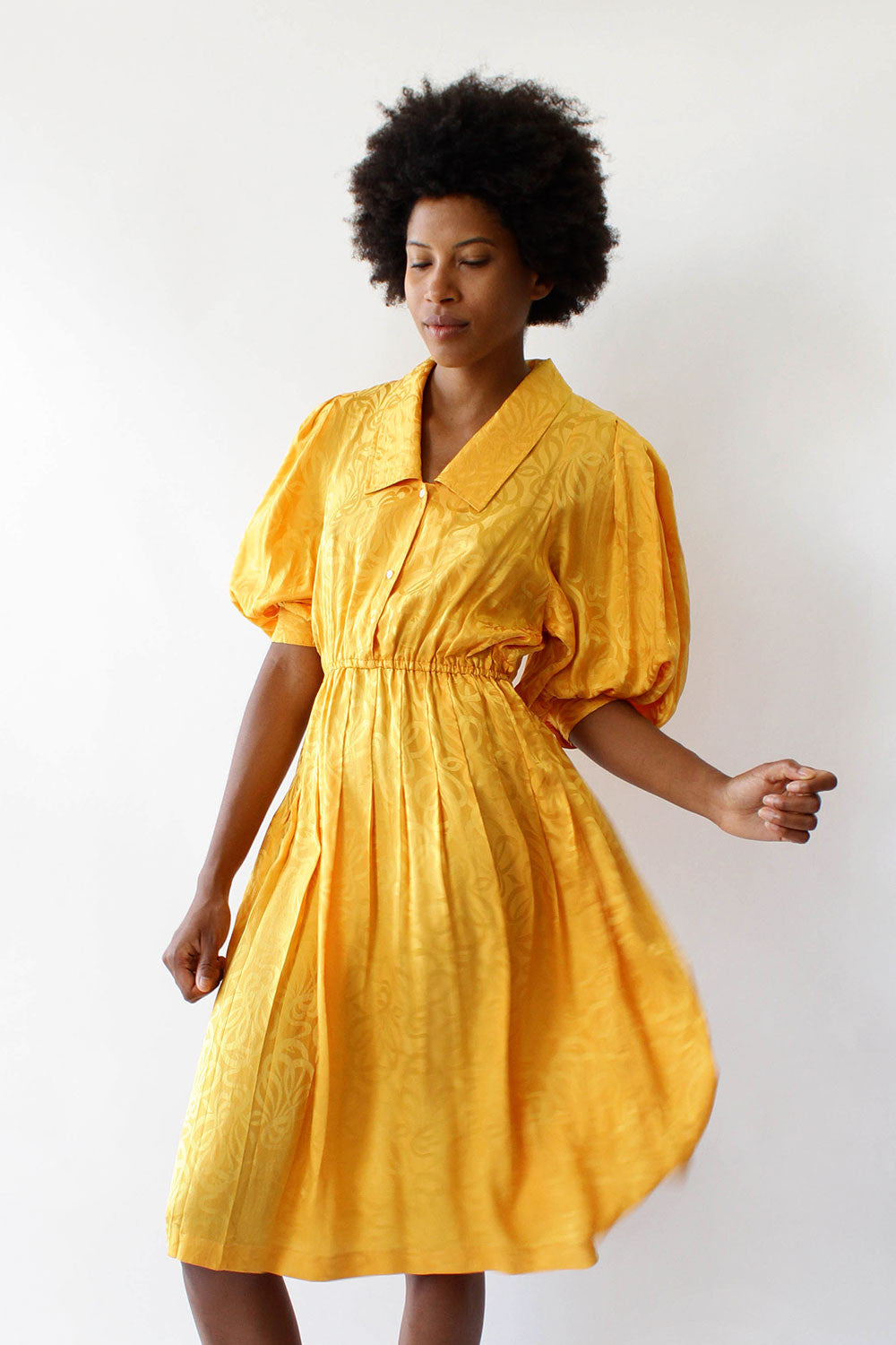 Silk Marigold Balloon Dress S