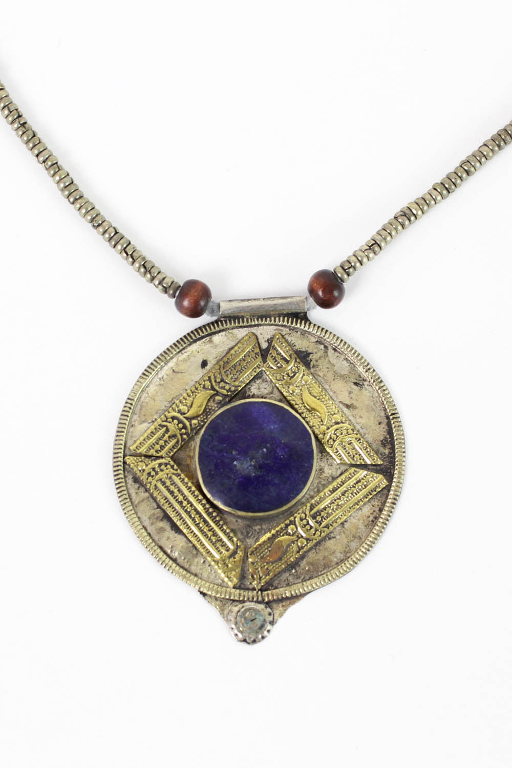 vintage tribal lapis pendant necklace