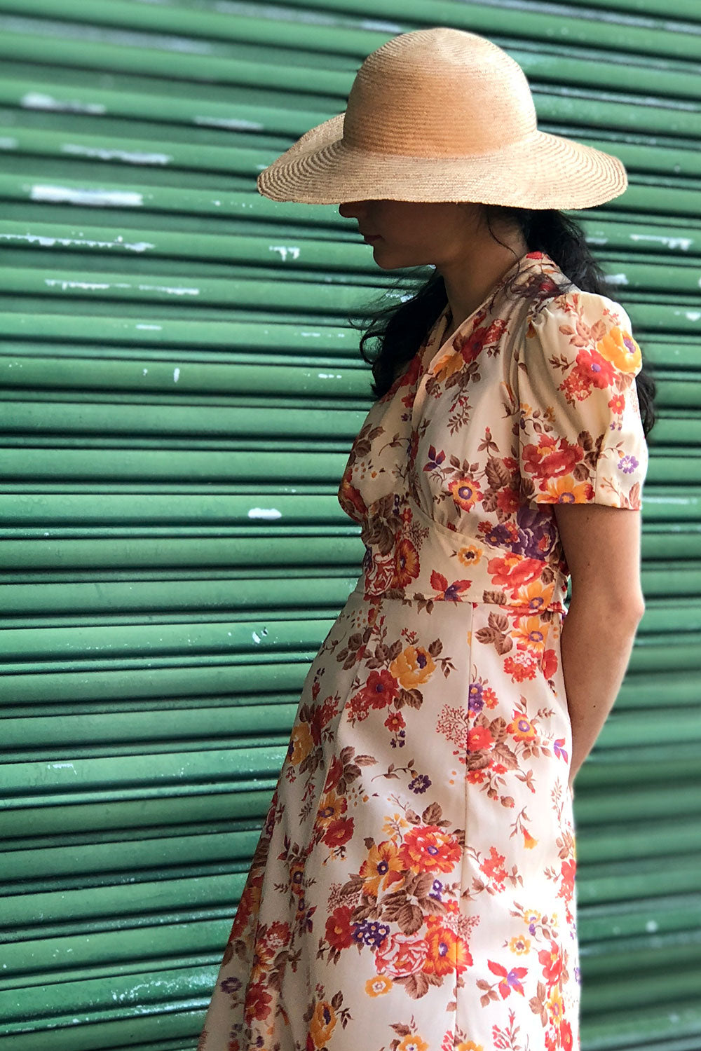 Antiqued Floral V-Neck Dress