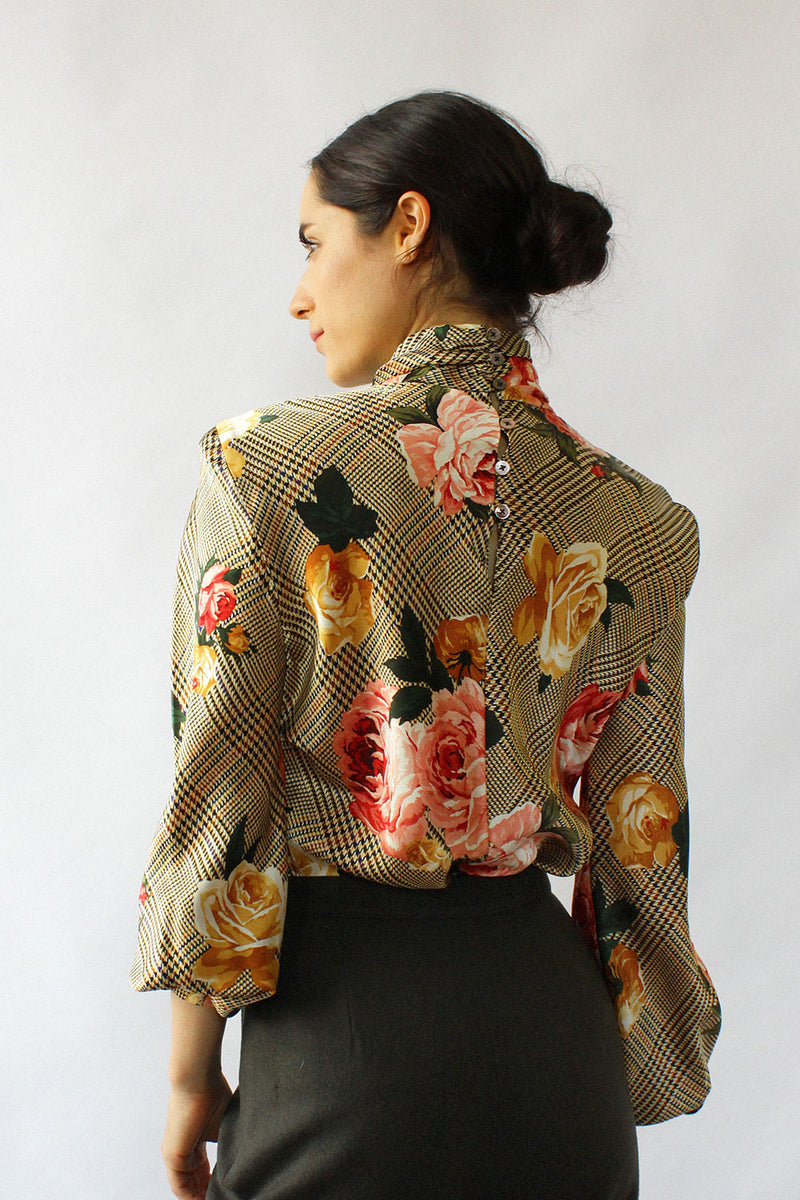 Silk Golden Floral Blouse S/M