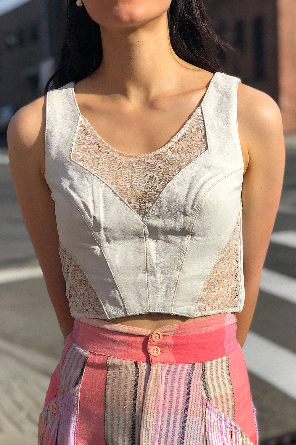 White Leather Lace Crop Top S