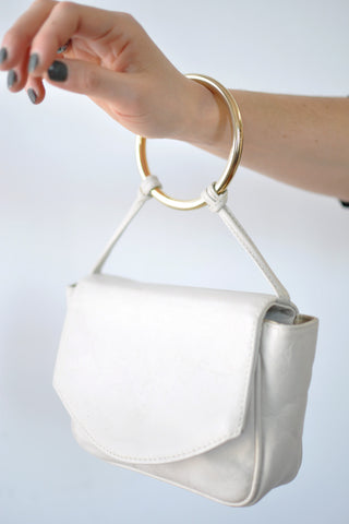 Ivory Leather Bracelet Bag