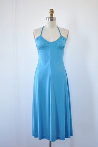 Aqua Dip Halter Dress XS