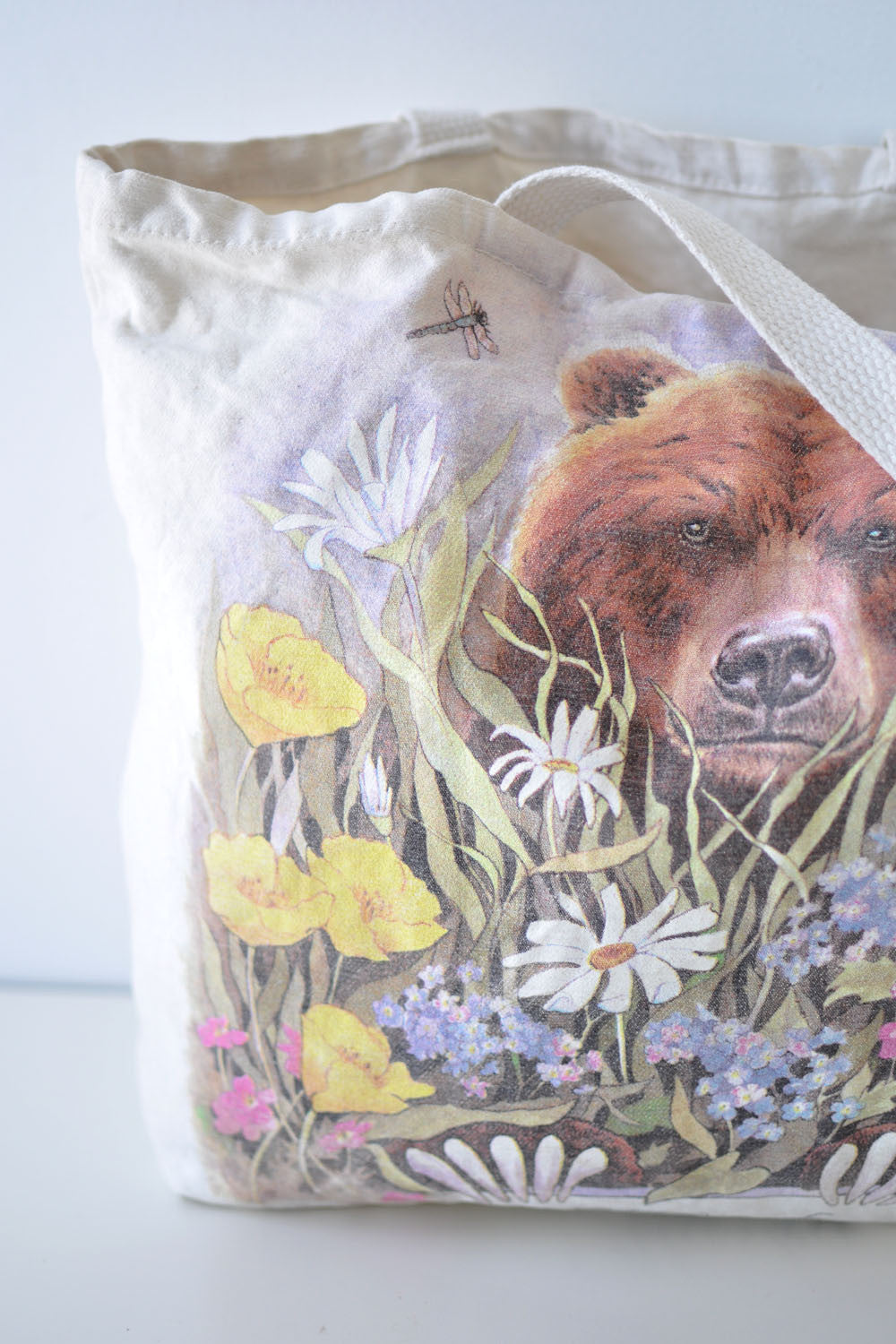 Bear in Flora Canvas Tote