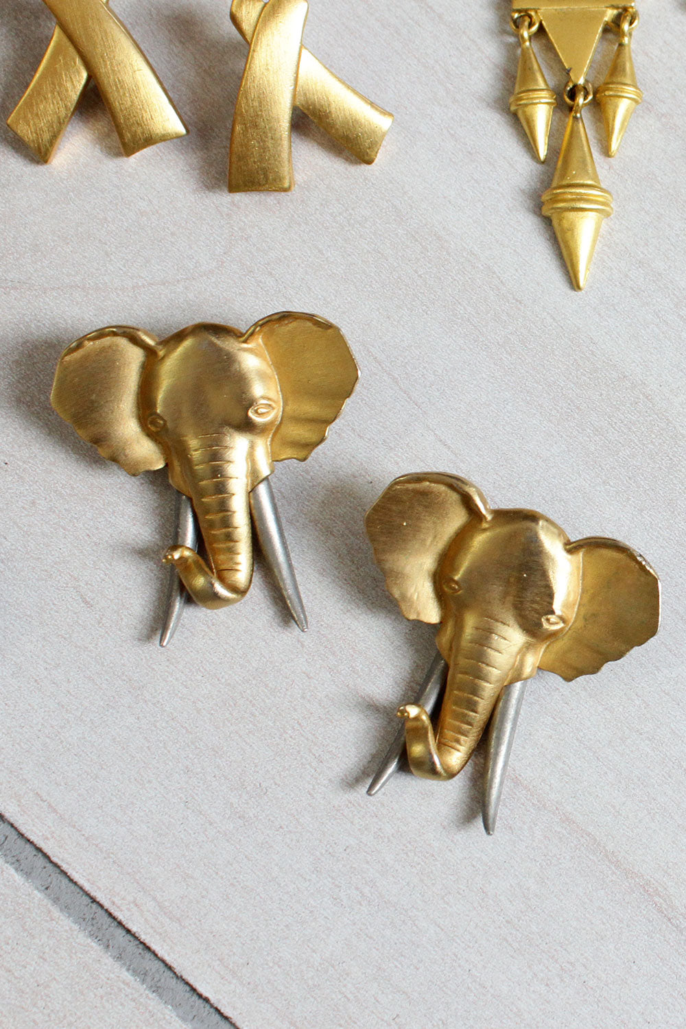 Bronzed Elephant Earrings