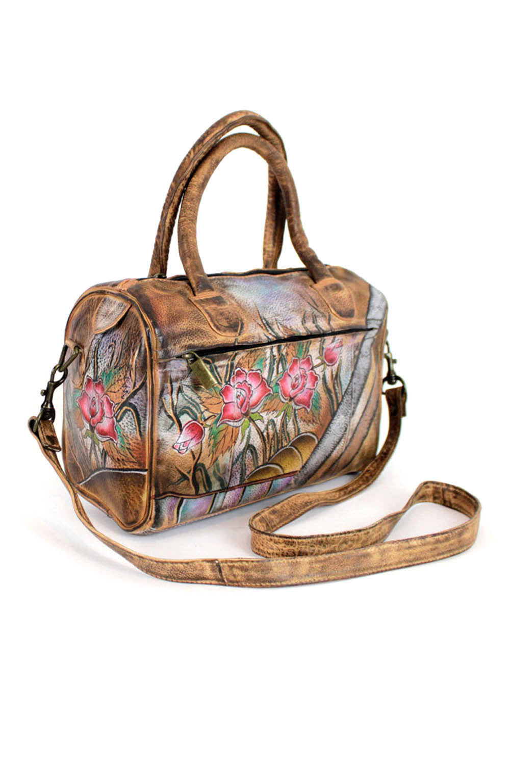 floral painted leather handbags