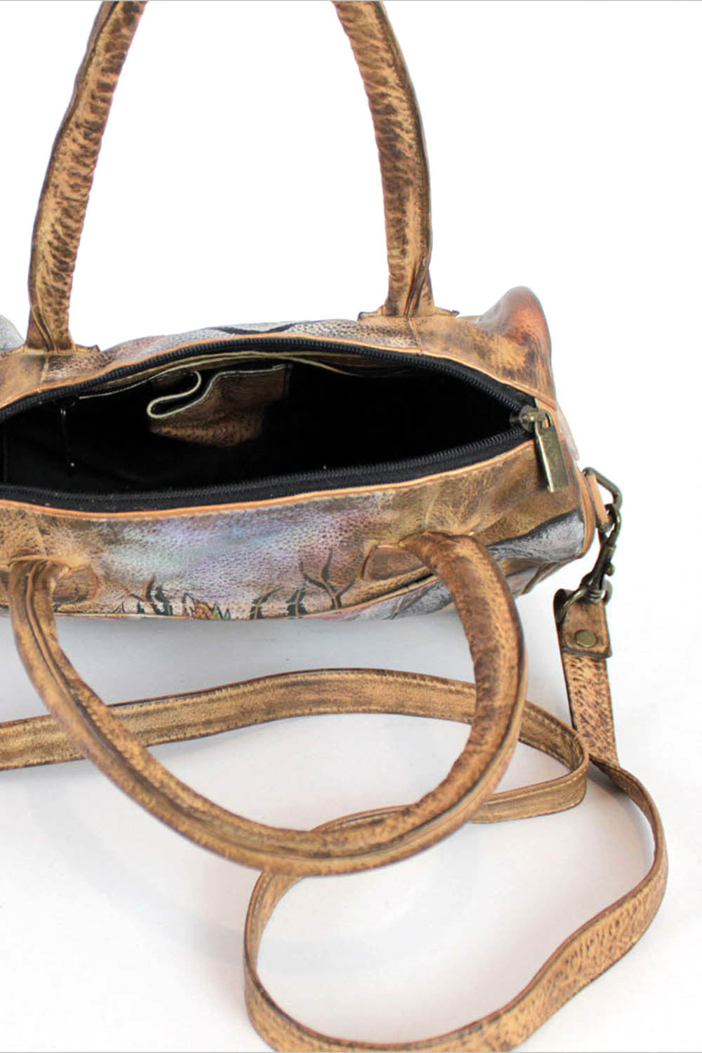 Painted Leather Satchel Bag