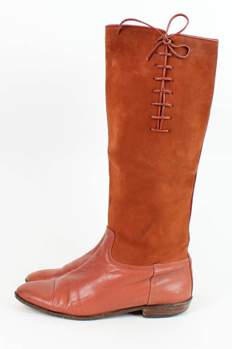 Rust Leather Lace Up Boots 8