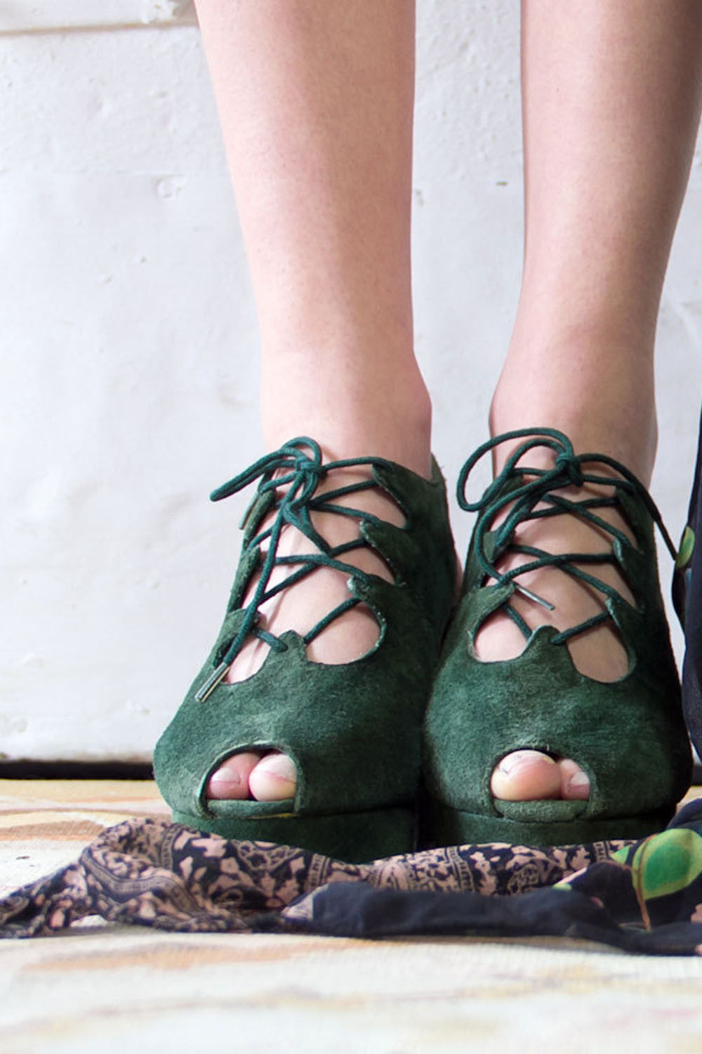 Green Suede Lace Up Platforms 7.5