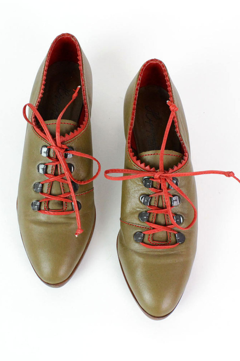 Olive & Red Leather Oxfords 7.5