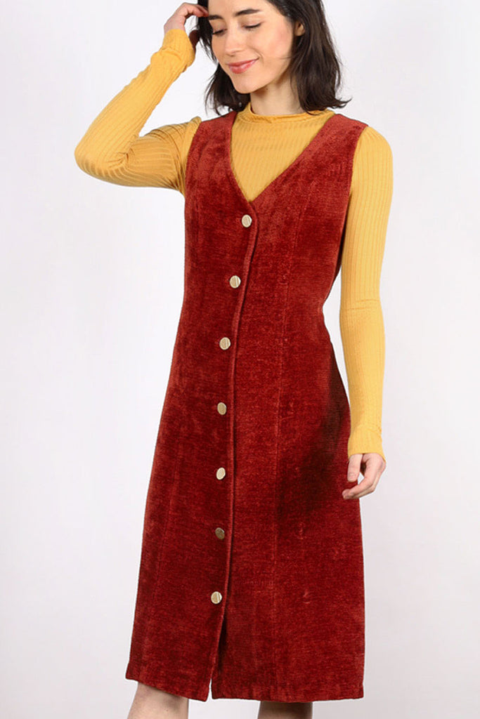 Persimmon Chenille Button Dress S/M