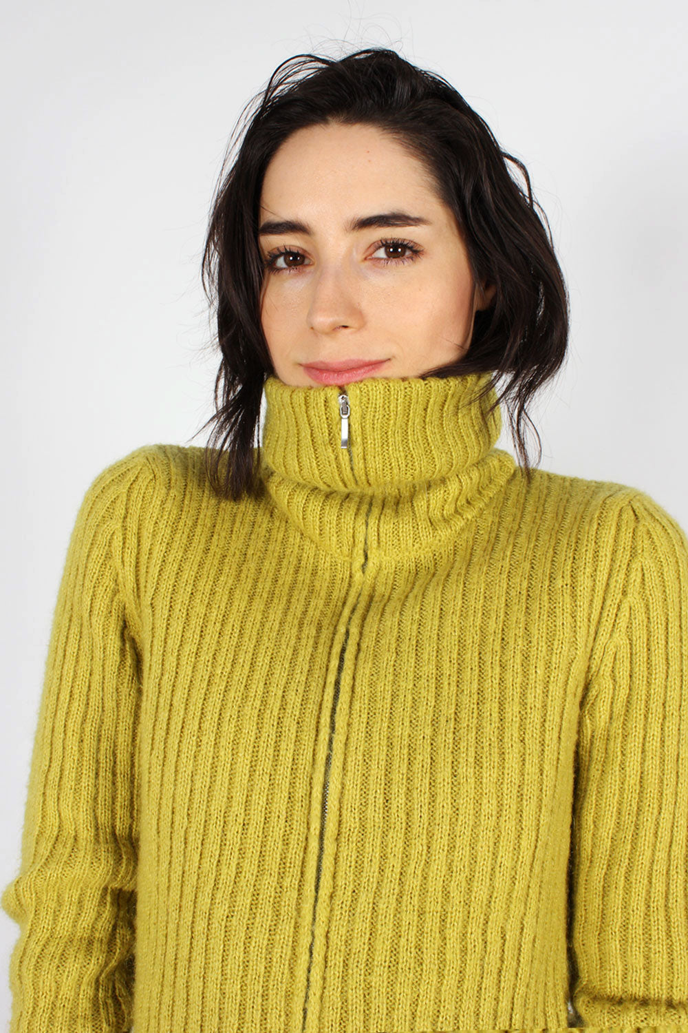 Chartreuse Mohair Zip Sweater S/M
