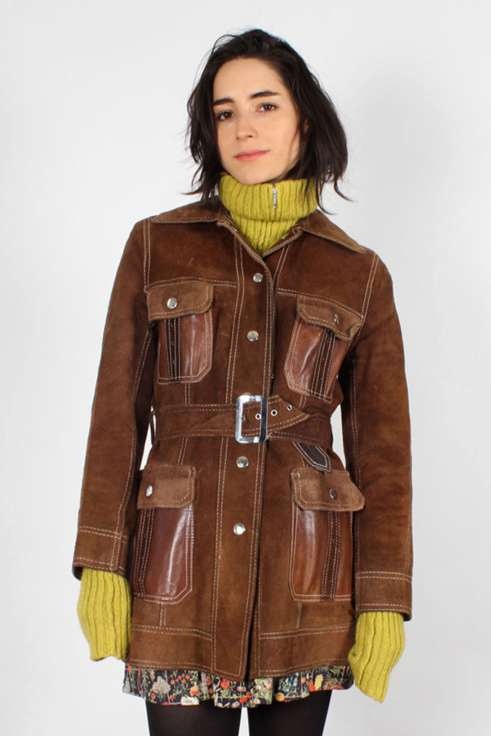 Reversible Bark Leather Belted Jacket S