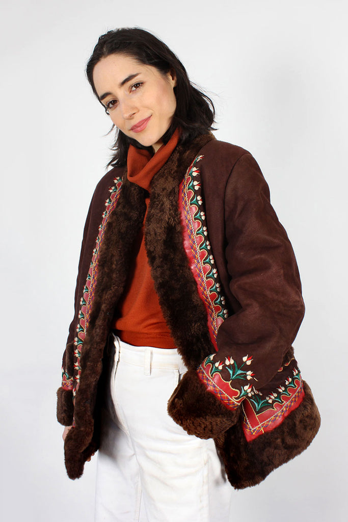 Embellished Folk Shearling Coat S