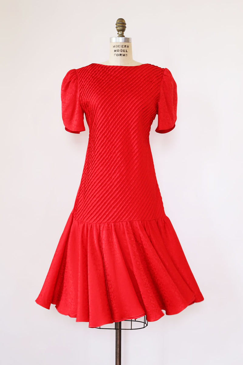 Ruby Pleated Silk Nipon Dress S/M