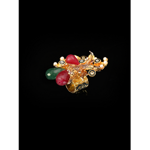 Peacock Golden Stone Ring
