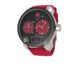 All Red Canvas Band Dual Time Zone Silver Watch | ProductPro