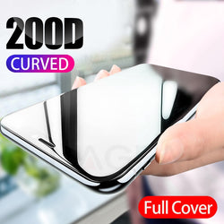 200D Curved Full Cover Protective Glass for iPhone 7 8 6S Plus 11 Pro X XR XS Max