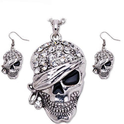 Punk Rock Rhinestone Skull Necklace 295 | Foofster LLC