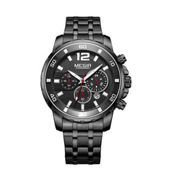 MEGIR Stainless steel Quartz Calendar Function Chronograph Watch 215 | Foofster