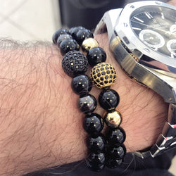 NAIQUBE  8mm Lava Smatte Stone Beads And Black CZ Ball 914 | Foofster LLC