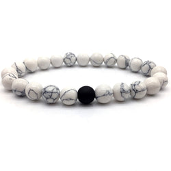 Black and White Natural Stone Distance Bracelet 292 | Foofster LLC