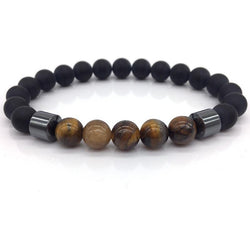NAIQUBE 8mm Matte Bead with Column Hematite Bracelet 012 | Foofster LLC
