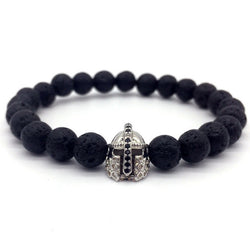 Lava Stone Pave CZ Imperial Crown And Helmet Charm Bracelet 565 | Foofster LLC