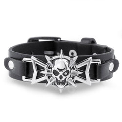 Skeleton Skull Star Eye Punk Gothic Rock Leather Belt Buckle Bracelets 858 | Foofster LLC