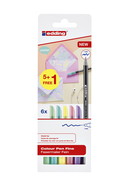 Fineliner edding 1200 1mm pastel assorti set à 5+1 gratis