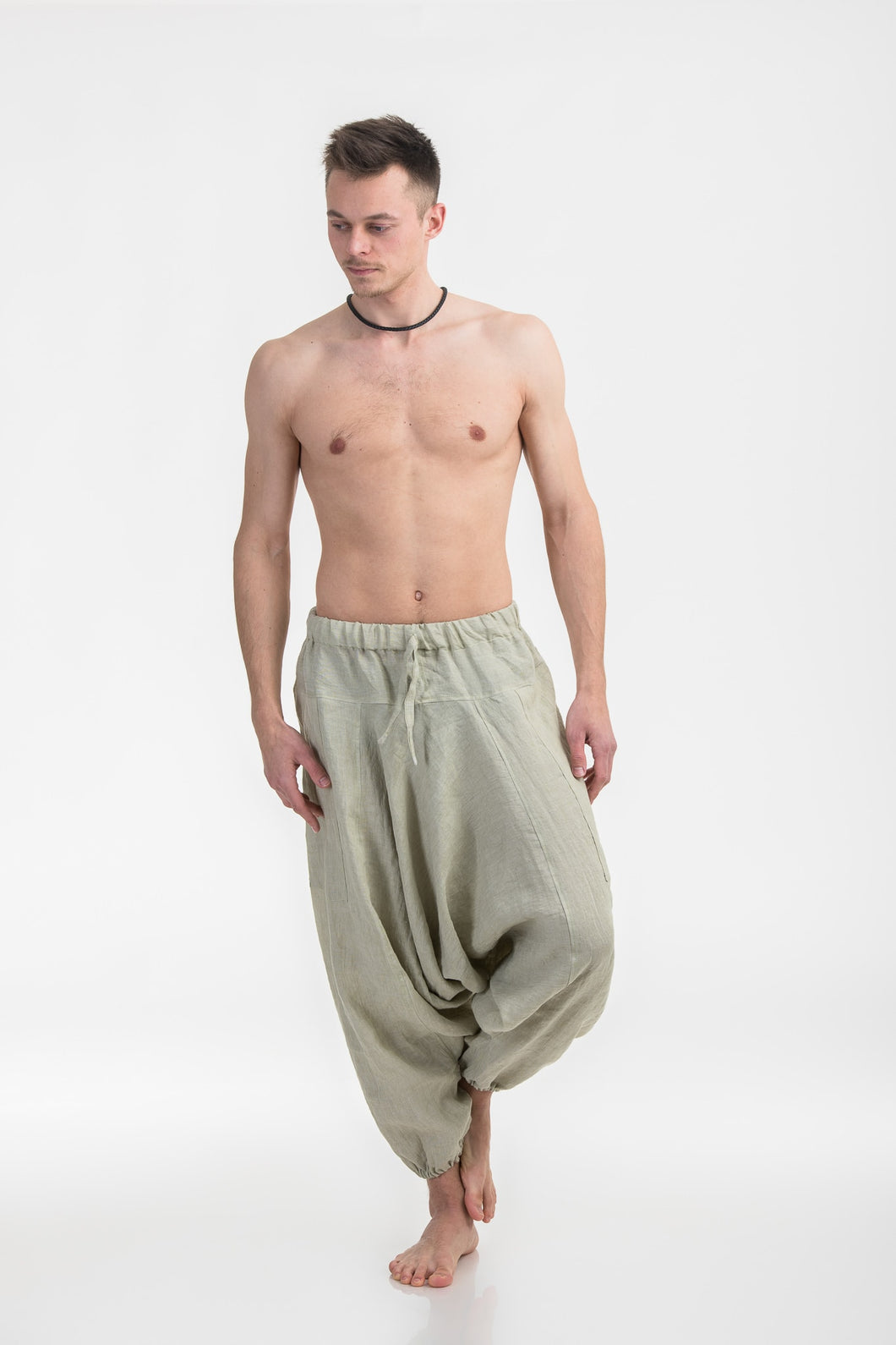Linen Aladdin Pants- Drop Crotch