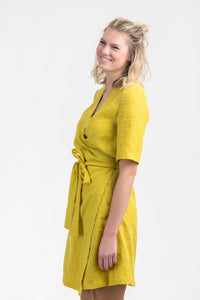 Linen Wrap Mini Dress