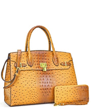 Ostrich Embossed Classic Bag with matching wallet