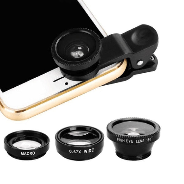 3-in-1 Wide angle Fisheye Lens Camera Kits Mobile Phone