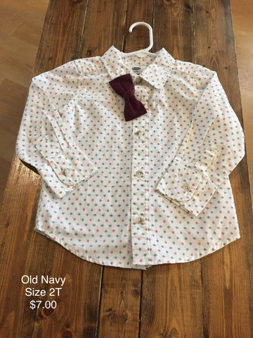 Old Navy Long Sleeve Button Down with Bowtie