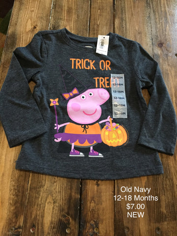 "Old Navy Peppa Pig ""Trick Or Treat"" Long Sleeve Shirt"
