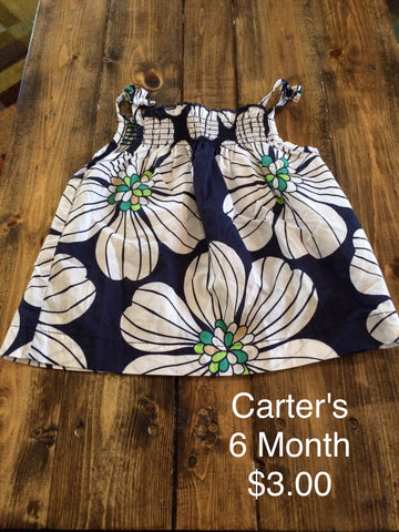Carter's Flower Print Spaghetti String Tank Top