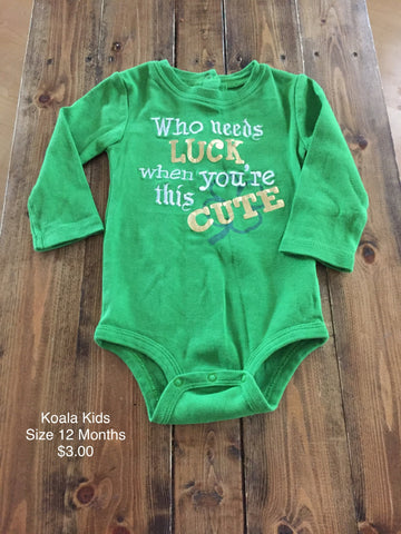 "Koala Kids ""Who Needs Luck When You're This Cute"" Long Sleeve Onesie"