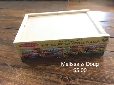 Melissa & Doug 4 Twelve Piece Wooden Puzzles In A Box - Vehicles