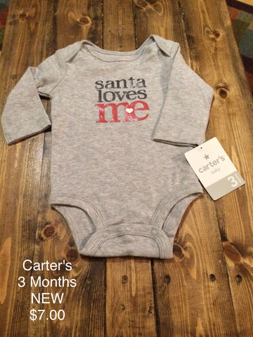"Carter's Girls ""Santa Loves Me"" Long Sleeve Onesie"
