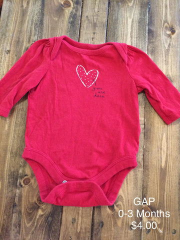 "GAP ""You are here"" Heart Onesie"