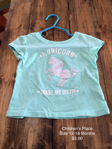"Children's Place ""A Unicorn Made Me Do It"" T-Shirt"