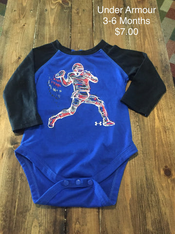 Under Armour Football Print Long Sleeve Onesie