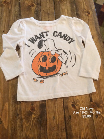 "Old Navy Girls ""I Want Candy"" Snoopy Long Sleeve Shirt"
