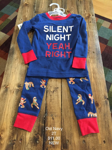 "Old Navy ""Silent Night Yeah, Right"" Two Piece Pajama Set"