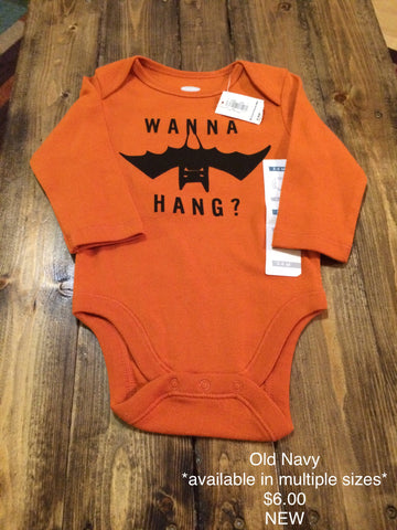 "Old Navy ""Wanna Hang?"" Onesie - Multiple Sizes"