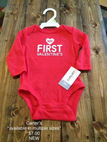 "Carter's ""My First Valentine's Day"" Long Sleeve Onesie - Multiple Sizes"